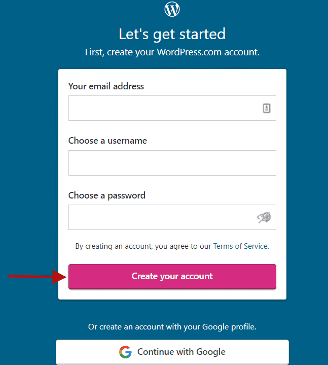 Enter your details and create your account