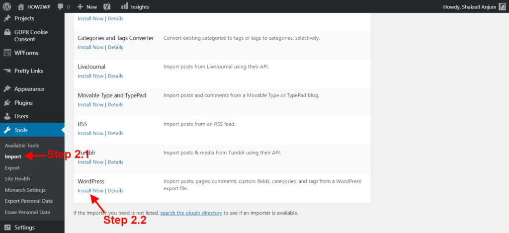 Import Content to WordPress.org step 2.1 and 2.2