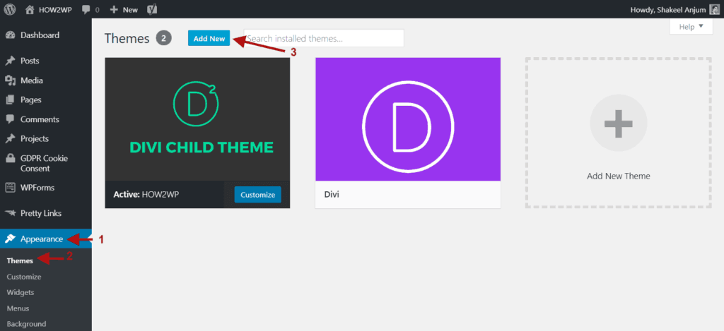 Navigate to Appearance Themes and Click on Add New Button