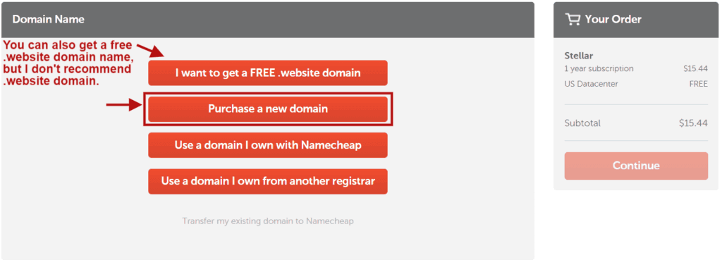 Select a domain name method when creating Namecheap hosting account.
