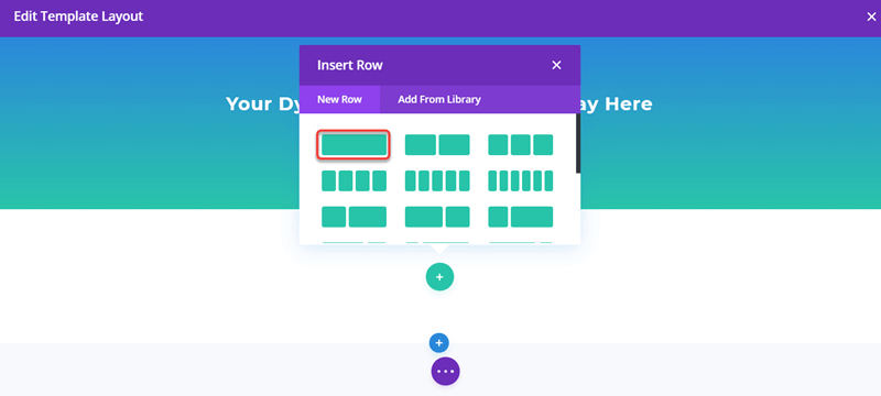 Create a row with one column for Post Content Module in Divi Blog Posts Template