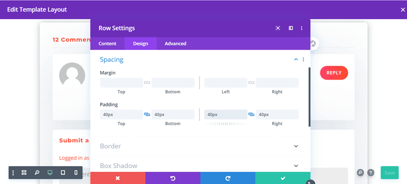 Add 40px padding in spacing section for Divi Comments Module