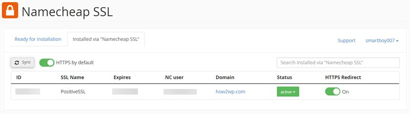 Namecheap SSL active