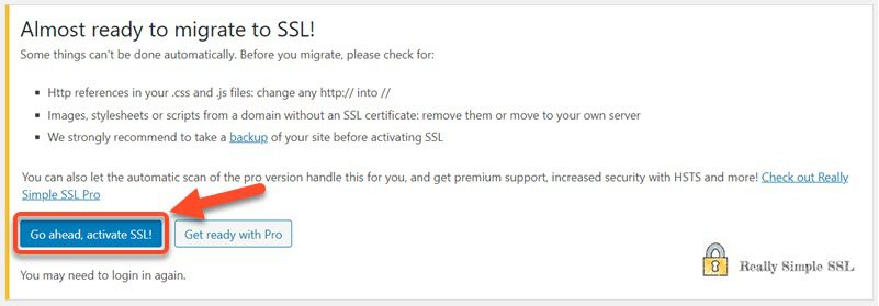 Active SSL using Really Simple SSL WordPress Plugin