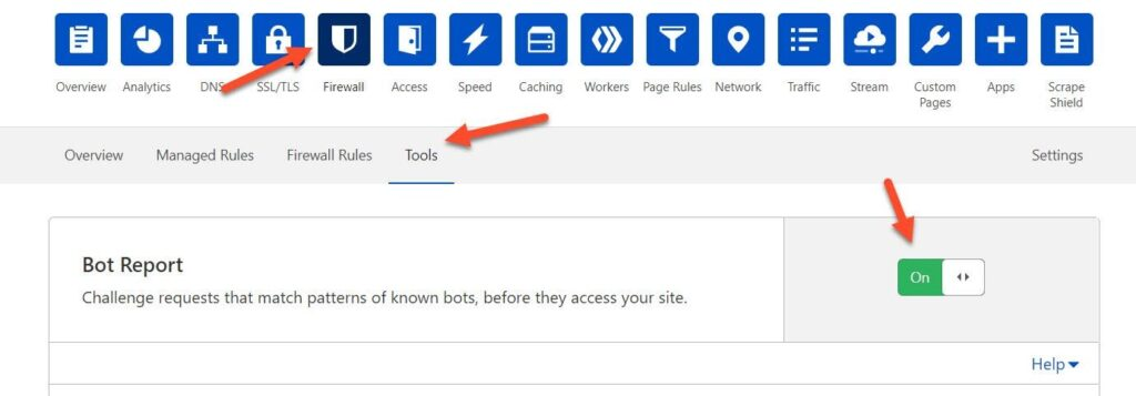 Enable Bot Report Option In Cloudflare Firewall