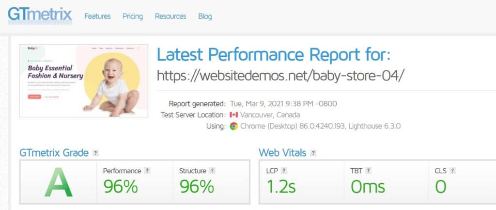 Gtmertrix Performance Report For Astra Theme