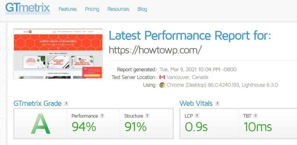 Speed Test Of Howtowp In Gtmetrix