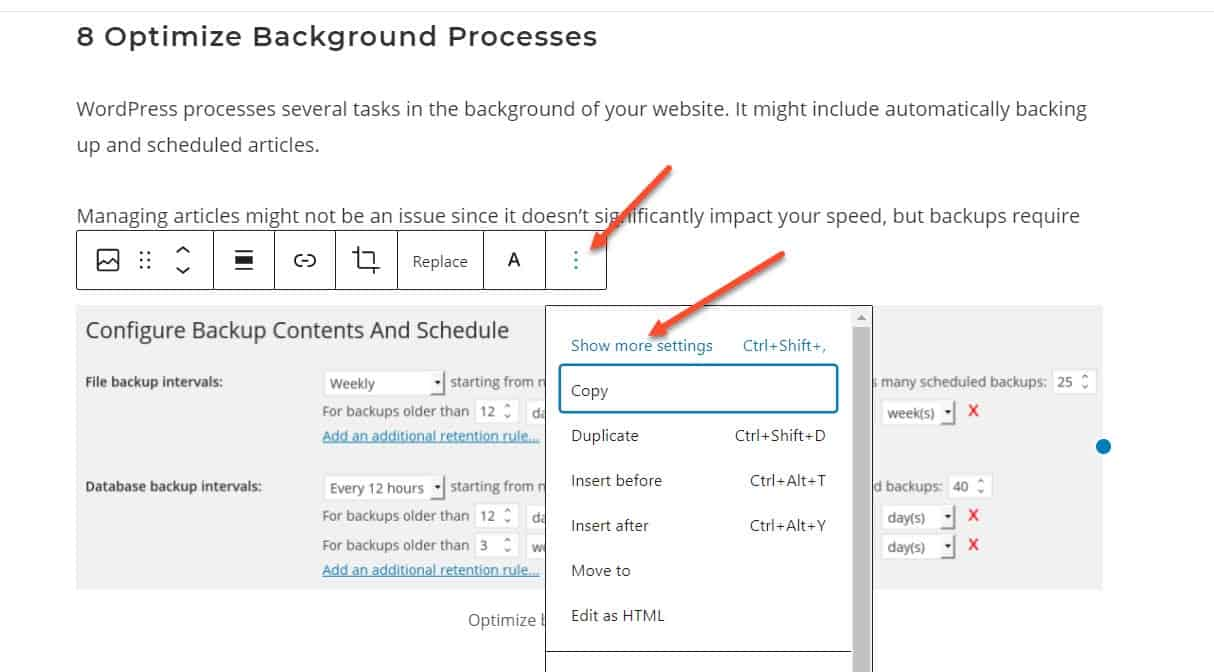 Show More Settings In Wordpress